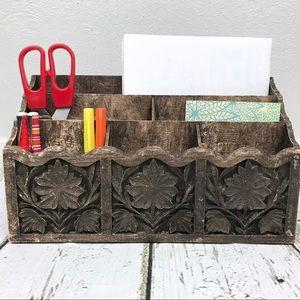 Lerner Faux Wood Vintage Mail Holder Organizer